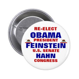 California for Obama Feinstein Hahn 6 Cm Round Badge