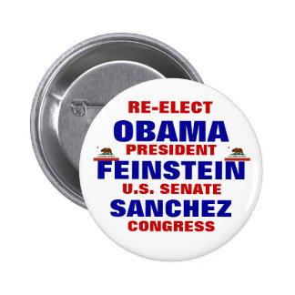 California for Obama Feinstein Sanchez 6 Cm Round Badge