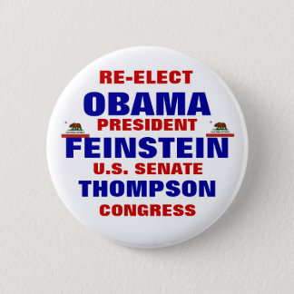 California for Obama Feinstein Thompson 6 Cm Round Badge