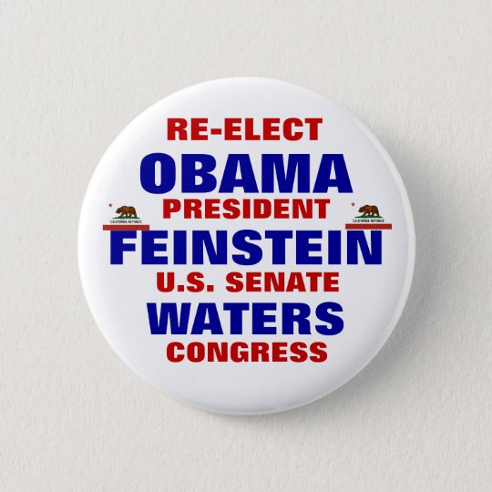 California for Obama Feinstein Waters 6 Cm Round Badge