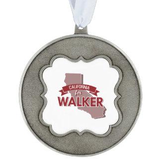 California for Walker Scalloped Pewter Ornament