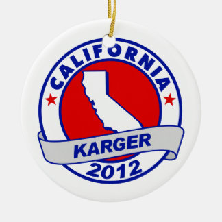 California Fred Karger Double-Sided Ceramic Round Christmas Ornament
