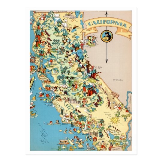 California Funny Vintage Map Postcard | Zazzle.co.uk on