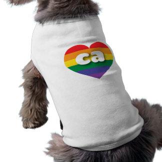 California gay pride rainbow heart - mini love sleeveless dog shirt