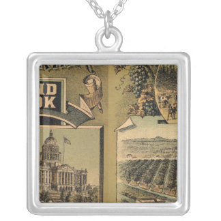 California hand book silver plated necklace