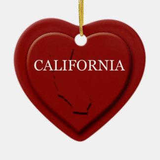 California Heart Map Christmas Ornament
