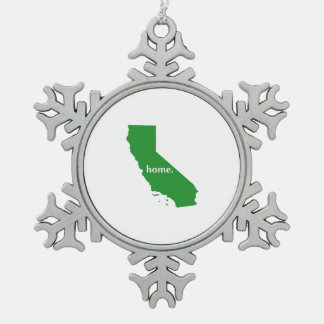 California home silhouette state map snowflake pewter christmas ornament