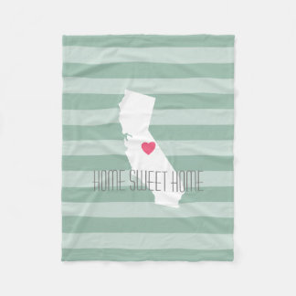 California Home State Love with Custom Heart Fleece Blanket
