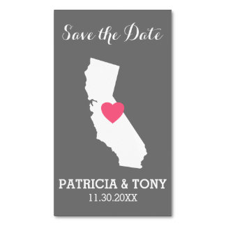 California Home State Love with Custom Heart Magnetic Business Cards