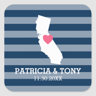 California Home State Love with Custom Heart Square Sticker