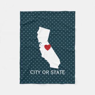 California Home State Map - Custom City Fleece Blanket