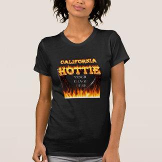 California hottie fire and flames design tee shirt