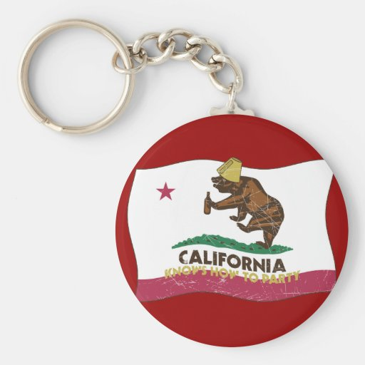 California Knows How to Party Bear Basic Round Button Key Ring