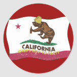 California Knows How to Party Bear Round Sticker