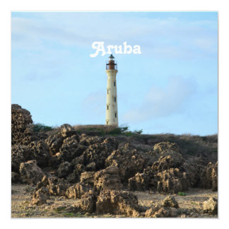 California Lighthouse in Aruba 13 Cm X 13 Cm Square Invitation Card
