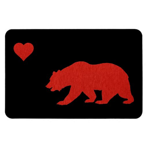 California Love Red Bear & Heart Magnets