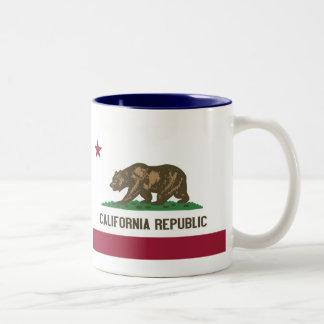 California Map and State Flag Two-Tone Mug