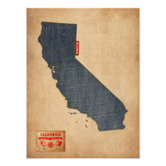 California Map Denim Jeans Style Photo Print