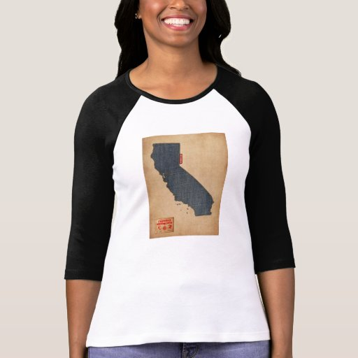 California Map Denim Jeans Style T-shirts
