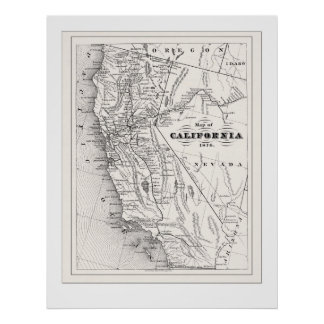 California Map from 1876 Poster