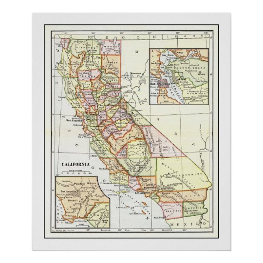 California Map from 1911 Poster
