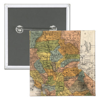 California Map showing townships and railroads 15 Cm Square Badge