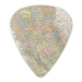California Map showing townships and railroads Acetal Guitar Pick