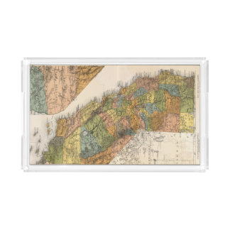 California Map showing townships and railroads Acrylic Tray