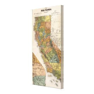 California Map showing townships and railroads Canvas Print