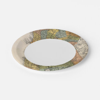 California Map showing townships and railroads Paper Plate