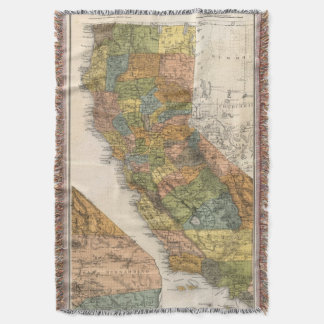 California Map showing townships and railroads Throw Blanket