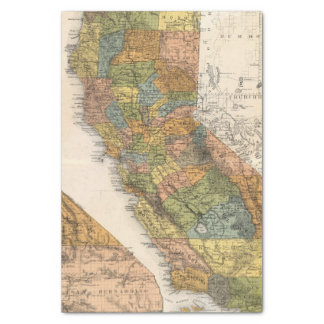 California Map showing townships and railroads Tissue Paper
