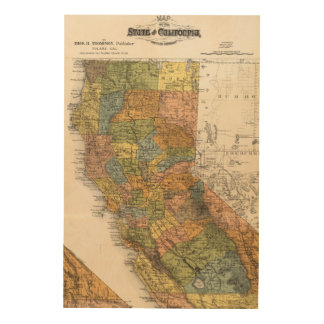 California Map showing townships and railroads Wood Wall Art