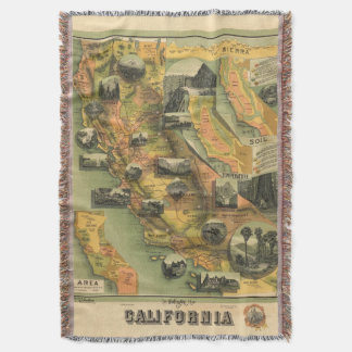 California Map Throw Blanket