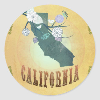California Map With Lovely Birds Round Sticker
