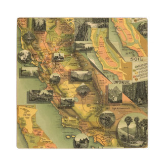 California Map Wood Coaster