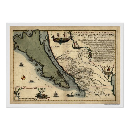 California & Mexico Early Map 1712 Poster