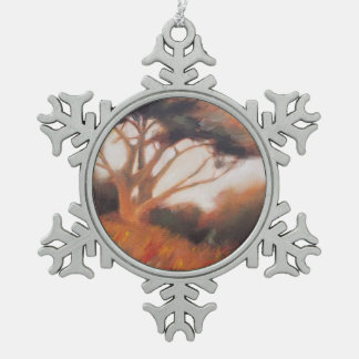 California Monterey Cypress Trees Snowflake Pewter Christmas Ornament