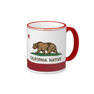 California Native Republic Flag Ringer Mug