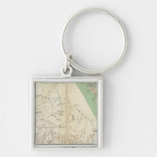 California, Nevada, Oregon Silver-Colored Square Key Ring