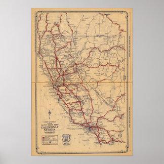 California, Nevada Poster