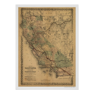 California & Nevada Railroad Map 1876 Poster