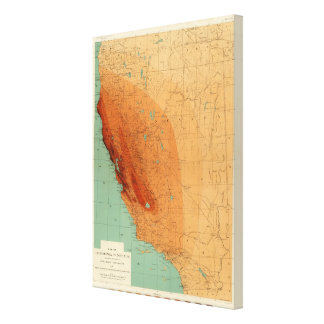 California, Nevada showing intensity Stretched Canvas Print