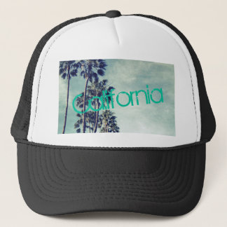 California Ocean Palm Trees Trucker Hat