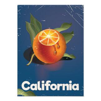 California Orange Retro Style vacation poster