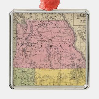 California, Oregon, Utah, and New Mexico Silver-Colored Square Decoration