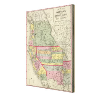 California, Oregon, Utah, New Mexico 3 Stretched Canvas Prints