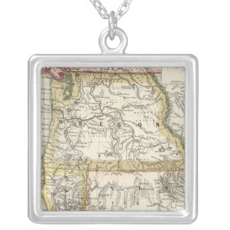 California, Oregon, Utah Silver Plated Necklace
