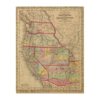 California, Oregon, Washington, Utah, New Mexico Wood Print