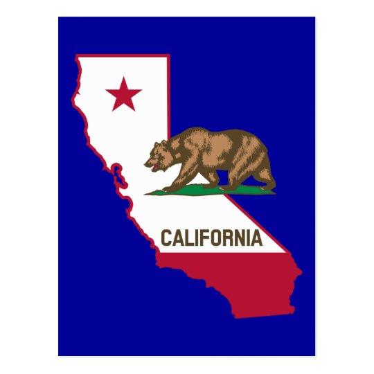 California Outline and Flag Postcard